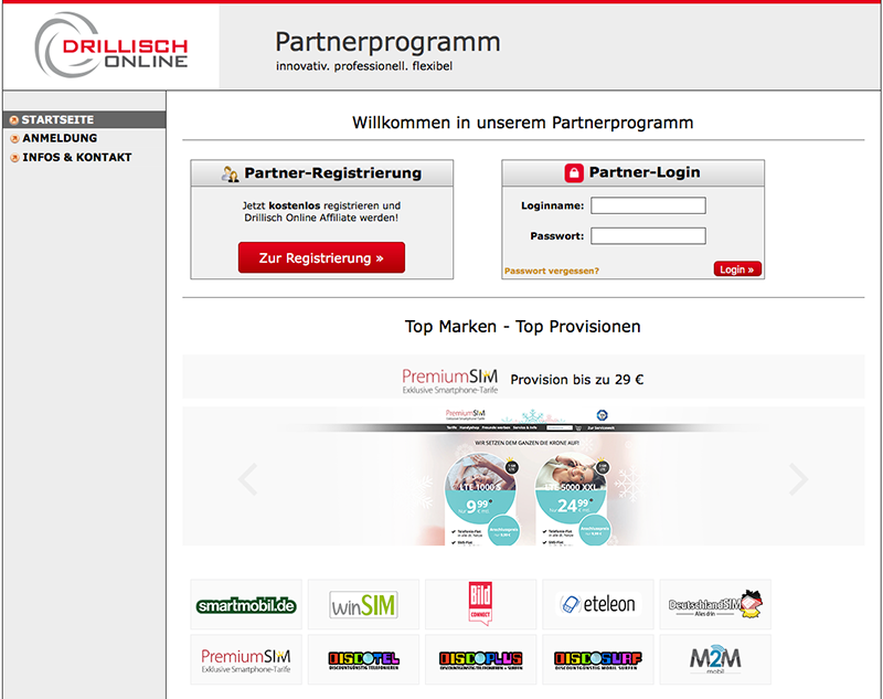 Screenshot - Partnerprogramm