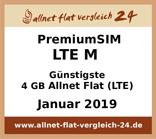 PremiumSIM LTE M - Günstigste 4 GB Allnet Flat LTE