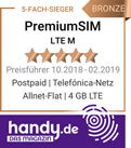 handy.de PremiumSIM LTE M Allnet-Flat 4 GB