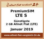 PremiumSIM LTE S - Günstigste 2 GB Allnet Flat LTE