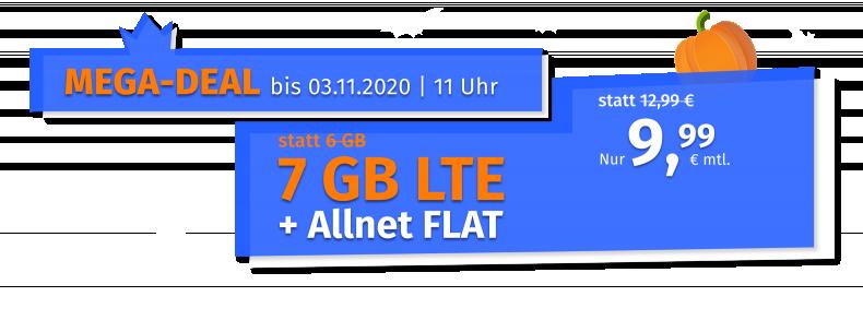 MEGA-DEAL bis 27.10.2020 | 11 Uhr - 10 GB LTE + Allnet FLAT nur 12,99€ mtl.